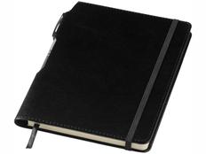 Блокнот в линейку на резинке с шариковой ручкой Panama А5, 80 листов, черный фото