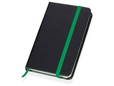 Блокнот в линейку на резинке Имлес А6, черный/ зеленый фото