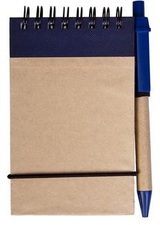 Блокнот на пружине с авторучкой Eco note A7, 50 листов, синий фото