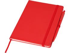 Блокнот Prime среднего размера с ручкой, красный фото