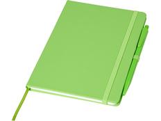 Блокнот Prime среднего размера с ручкой, зелёный фото