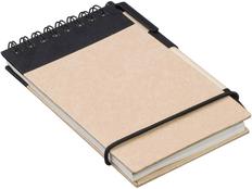 Блокнот на пружине с авторучкой Zuse, 40 листов, черный фото
