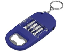 Брелок-открывалка с отвертками и фонариком Uni софт-тач, синий фото