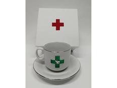 Чайная пара фарфоровая Фармацевт, белая / зелёная фото