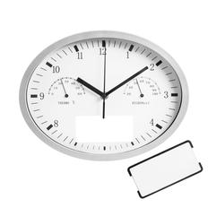 Часы настенные INSERT3 с термометром и гигрометром, белые фото