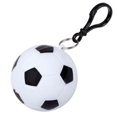 Дождевик в круглом футляре с карабином Футбольный мяч, черный / белый фото