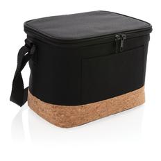Двухцветная сумка-холодильник с пробковой отделкой, чёрная фото