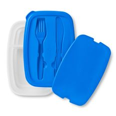 Емкость для хранения обеда с набором столовых приборов, синий фото