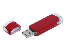 Флешка промо USB 2.0 на 4 Гб прямоугольной классической формы, красная фото