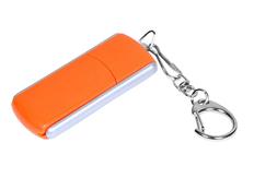 Флешка промо USB 2.0 на 4 Гб с прямоугольной формы с выдвижным механизмом, оранжевая фото