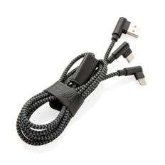 Кабель USB 3 в 1: micro USB / Lightning / Type C, Swiss Peak Luxury, черный фото