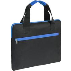 Конференц-сумка Unit Сontour, черная с синей отделкой фото