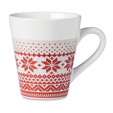 Кружка керамическая в скандинавском стиле, белый/ красный фото