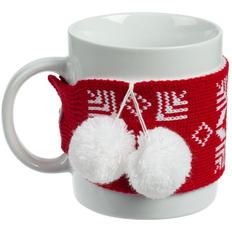 Кружка с манжетой «Снежинки», красная фото