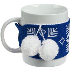 Кружка с манжетой «Снежинки», синяя фото
