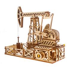 Механический конструктор Wood Machine «Нефтяная качалка», бежевый фото