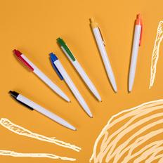 Ручка шариковая пластиковая NeoPen N8, белая / оранжевая фото