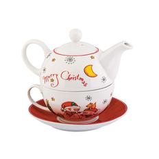 Набор чайный Зимнее чудо, белый, красный, зеленый фото