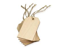 Набор деревянных ярлыков, бежевый фото