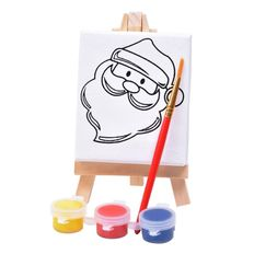 Набор для раскраски Дед Мороз:холст,мольберт,кисть, краски 3шт фото