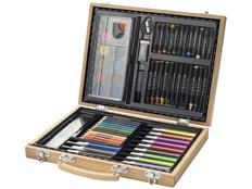 Набор для рисования: 67 предметов в деревянном портфеле, бежевый фото