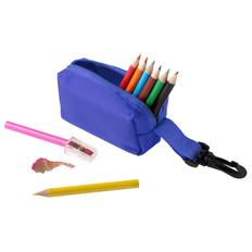 Набор для рисования в пенале с карабином MaKito Hobby: цветные карандаши 8шт, точилка, синий фото