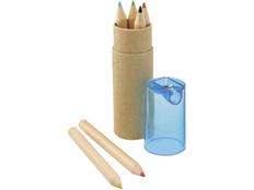 Набор цветных карандашей в тубусе с точилкой, 6 шт, крафт/ голубой фото