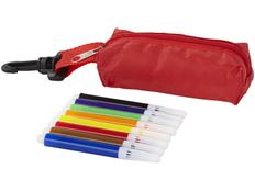 Набор цветных маркеров в чехле с карабином, 8шт, красный фото