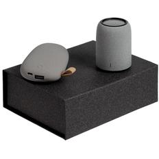 Набор Palm Beach: внешний аккумулятор Pebble 5200 mAh, колонка портативная Uniscend Grinder, серый фото
