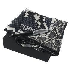 Набор: платок шелковый, ручка шариковая, черный / белый фото