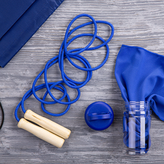 Набор подарочный FitWell: спортивное полотенце, скакалка, рюкзак, синий фото