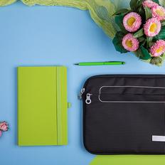 Набор подарочный Level Up: бизнес-блокнот, ручка, чехол для планшета, чёрный/зелёный фото