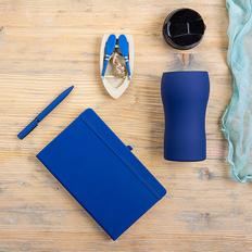 Набор подарочный Silkyway: термокружка, блокнот, ручка, синий фото
