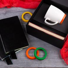 Набор подарочный Smart Talk: бизнес-блокнот, кружка, коробка, оранжевый фото