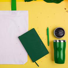 Набор подарочный SweetFace: бизнес-блокнот, ручка, термокружка, сумка, зеленый фото