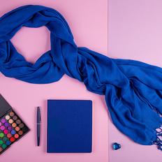 Набор подарочный VENUS BLUE: шарф, бизнес-блокнот, ручка, синий фото