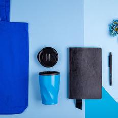Набор подарочный Vibes4Him: бизнес-блокнот, ручка, термокружка, сумка, чёрно-синий фото