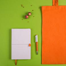 Набор подарочный White&You: бизнес-блокнот, ручка, сумка, оранжевый/белый фото