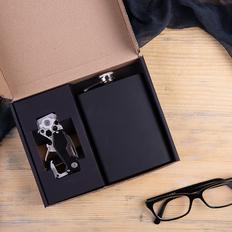 Набор подарочный Work&Rest: фляжка, мультиинструмент, черный фото