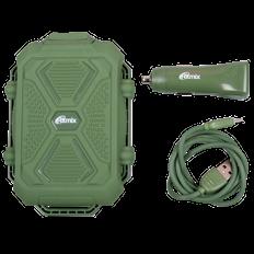 Набор Ritmix: внешний аккумулятор 10000 mAh, зарядное устройство автомобильное RM 3499DC, зеленый фото