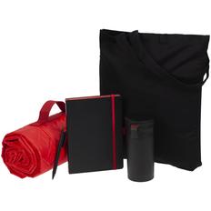 Набор Stitch Pitch: сумка, плед, термостакан, ежедневник, ручка шариковая, чёрный / красный фото