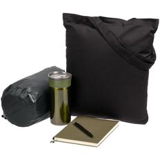 Набор Town Lawn: сумка, плед, ежедневник, термостакан, ручка, чёрный / зеленый / серый фото