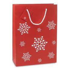 Пакет подарочный новогодний со снежинками  26x11x36 см, красный/белый фото