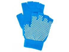 Перчатки противоскользящие для занятий йогой, голубые фото