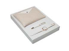 Подарочный набор Bagatelle: часы наручные, ручка шариковая, сумочка, бежевый фото