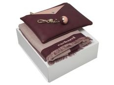Подарочный набор Bird: брелок, шарф, сумочка, бордовый фото