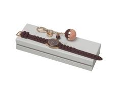 Набор подарочный женский Carcharel Bird: часы наручные, брелок, бордовый / розовый  /  золотой фото