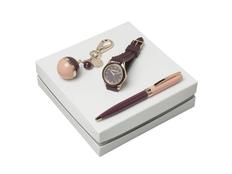 Набор подарочный женский Carcharel Bird: часы наручные, ручка шариковая, брелок, бордовый / розовый / золотой фото