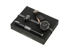 Подарочный набор: часы наручные, запонки, ручка роллер, чёрный фото