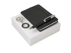 Подарочный набор Embrun: брелок, блокнот А6, ручка шариковая, чёрный фото